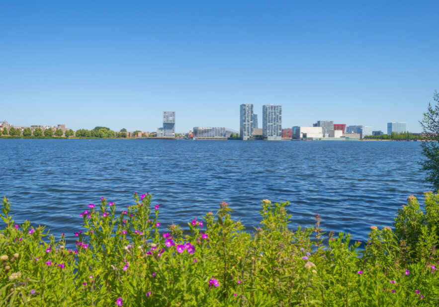 Skyline of a city along the shore of a lake below a blue sky in summer